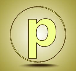 Letter P lowercase, round golden icon on light golden gradient background Vector