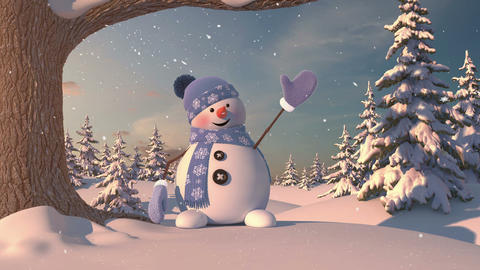 Funny Snowman in the Forest Animation