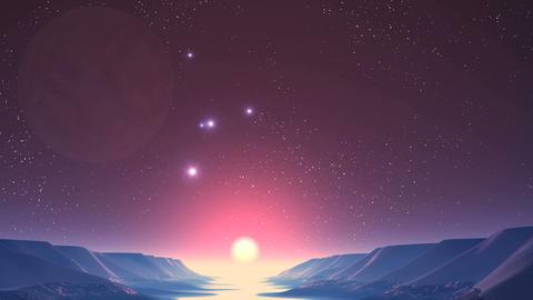 UFO, Sunrise on Alien Planet GIF