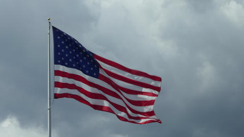 US Flag Waving As Symbol Of American Nation Footage