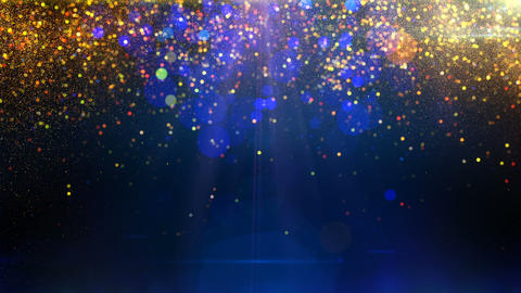 Gold particles on blue background loop Animation