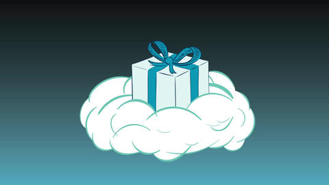 Gift box on cloud and gradient Animation