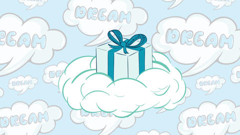 Gift box on a cloud and dreams Animation