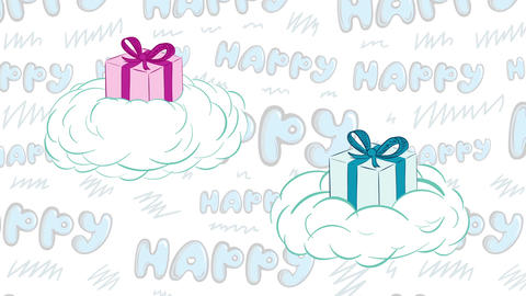Gifts in clouds and happy Animation