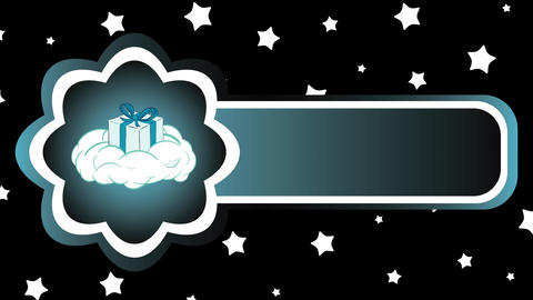 Icon gift on cloud and stars Animation