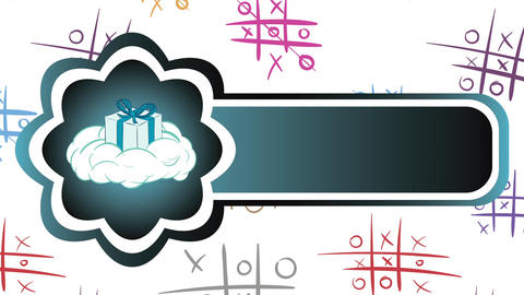 Icon gift on cloud and tic-tac-toe CG動画素材