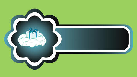 Icon gift on cloud green back Stock Video Footage