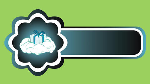 Icon gift on cloud green back Animación