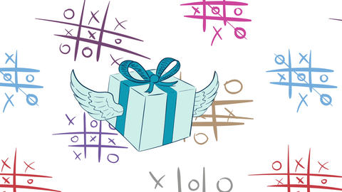 Icon winged gift and tic-tac-toe CG動画素材