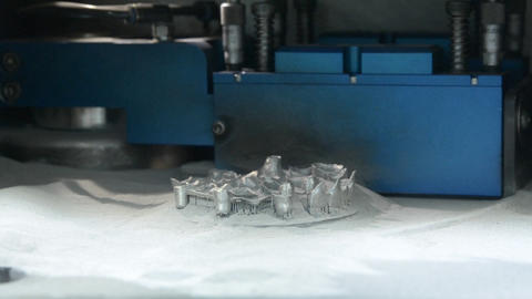 3D printer printing metal. Laser sintering machine for metal Footage