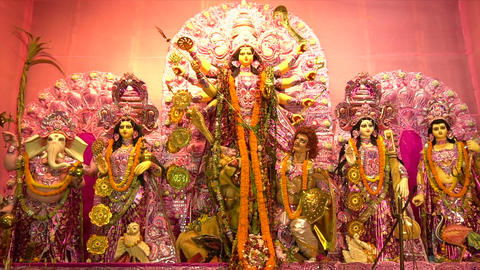 Goddess Durga Idol, Durga Puja Pandal, Kolkata, West Bengal, India Footage