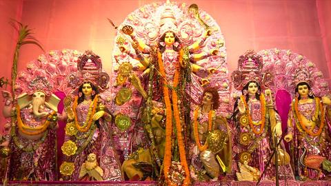 Goddess Durga Idol, Durga Puja Pandal, Kolkata, West Bengal, India 영상물