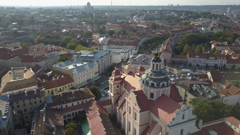 Beautiful Aerial view of the old town of Vilnius, the capital of Lithuania 영상물