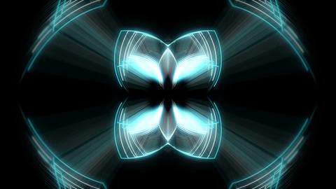 Flashing Light Neon Butterfly Lines Black Background VJ Loop Live Action