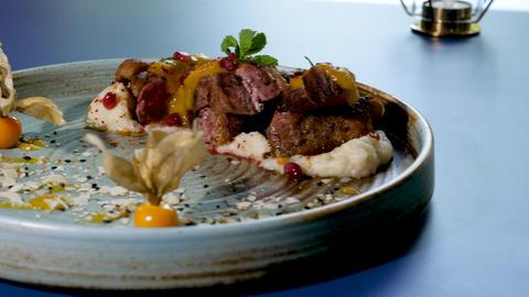 Delicious fine dining cuisine Footage