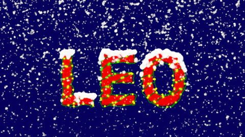 New Year text constellation of a LEO. Snow falls. Christmas mood, looped video. Animation