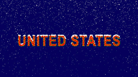 New Year text state UNITED STATES. Snow falls. Christmas mood, looped video. Animation