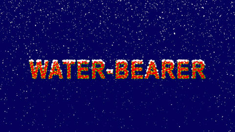 New Year text constellation of a WATER-BEARER. Snow falls. Christmas mood, Animation