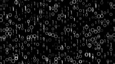 Digi0010 - 4k Simple Binary Digits Video Background Loop Animation