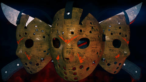 Jason Scary Mask With Machetes VJ Loop Videos animados