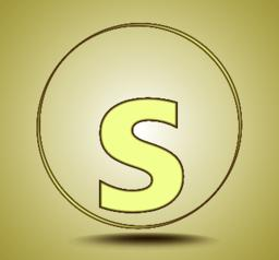 Letter S lowercase, round golden icon on light golden gradient background Vector