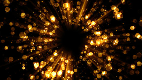 Golden vortex abstract background with lights and gliter particle for holiday Animation