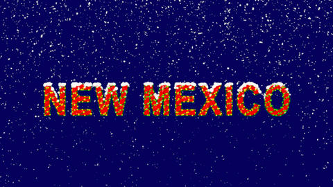 New Year text State Name NEW MEXICO. Snow falls. Christmas mood, looped video. Animation