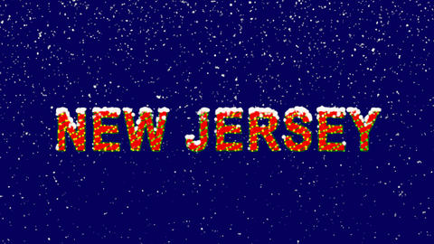 New Year text State Name NEW JERSEY. Snow falls.... Stock Video Footage