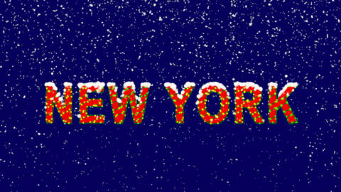 New Year text State Name NEW YORK. Snow falls. Christmas mood, looped video. Animation