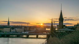 Stockholm Sweden time lapse 4K, city skyline night to day sunrise timelapse at ビデオ