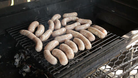 Meat sausages are grilled Footage
