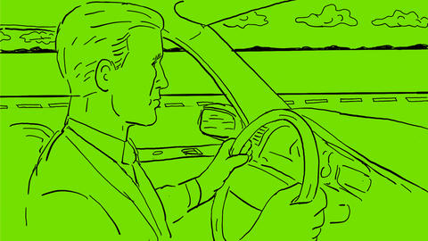 Businessman Driving Car Inside Vehicle Drawing 2D Animation Animation