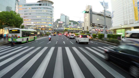 SANNOMIYA, JAPAN. Driver POV through the center of business and entertainment in Footage