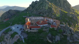 Aerial: camera smoothly flying around Treskavec monastery in Macedonia Footage