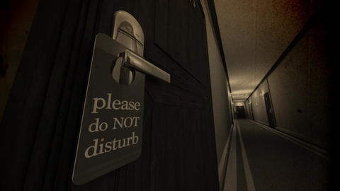 Do Not Disturb Hotel Door Sign Cinematic Motion Extreme Wide Angle Vintage 3D An Animation