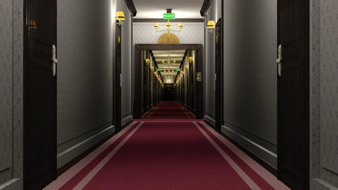 Elegant Hotel Corridor Cinematic Vertigo Effect 3D Animation 1 Animation