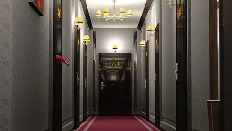 Elegant Hotel Corridor Cinematic Vertigo Effect 3D Animation 2 Animation