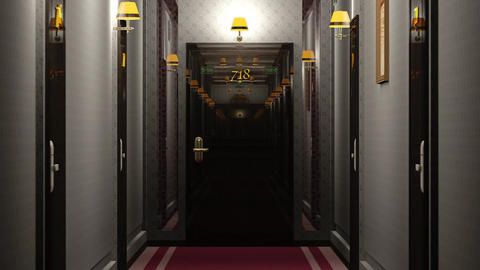 Elegant Hotel Corridor Cinematic Vertigo Effect 3D Animation 3 Animation