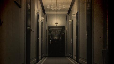 Elegant Hotel Corridor Cinematic Vertigo Effect Vintage 3D Animation 2 Animation