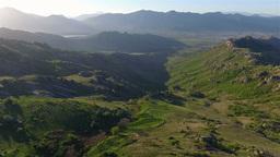 Aerial shot of beautiful scenery near Treskavec monastery in Macedonia Footage