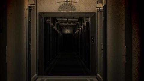Elegant Hotel Corridor Cinematic Vertigo Effect Vintage 3D Animation 4 Animation