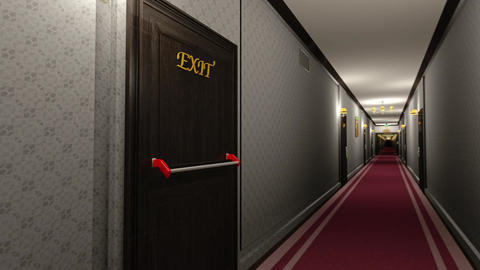 Elegant Hotel Corridor Exit Door in Focus 3D Animation Animation