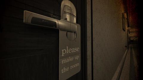 Make Up Room Hotel Door Sign Cinematic Motion Wide Angle Vintage 3D Animation Animation
