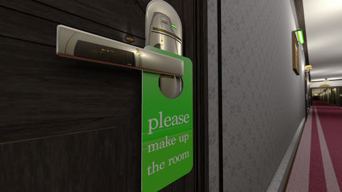 Make Up Room Hotel Door Sign Cinematic Motion Wide Angle 3D Animation Animation