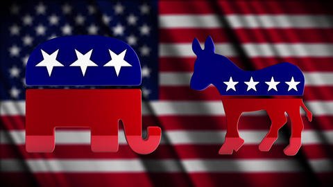 4K USA Election Democratic and Republican Parties Campaign Element Footage