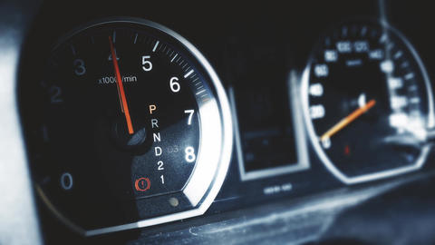 4K Car Engine Test in Parking Mode RPM Meter 2 Footage