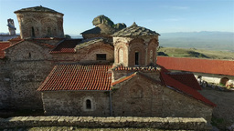 Camera flying next to Treskavec monastery Footage