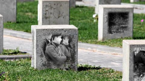 Empty Gravestone Unknown Soldier stock footage