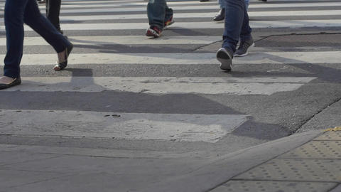 Feet crossing the street in downtown Buenos Aires in slow motion series 2 Footage