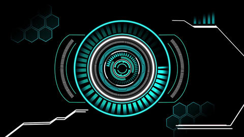 Sci fi hi-tech circular style user interface design element HUD After Effects Template